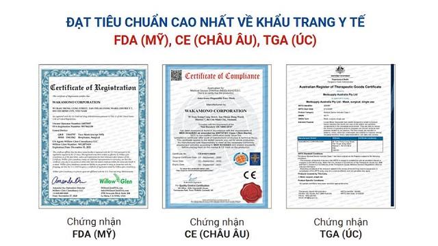 Chứng nhận quốc tế cho Khẩu trang y tế wakamono
