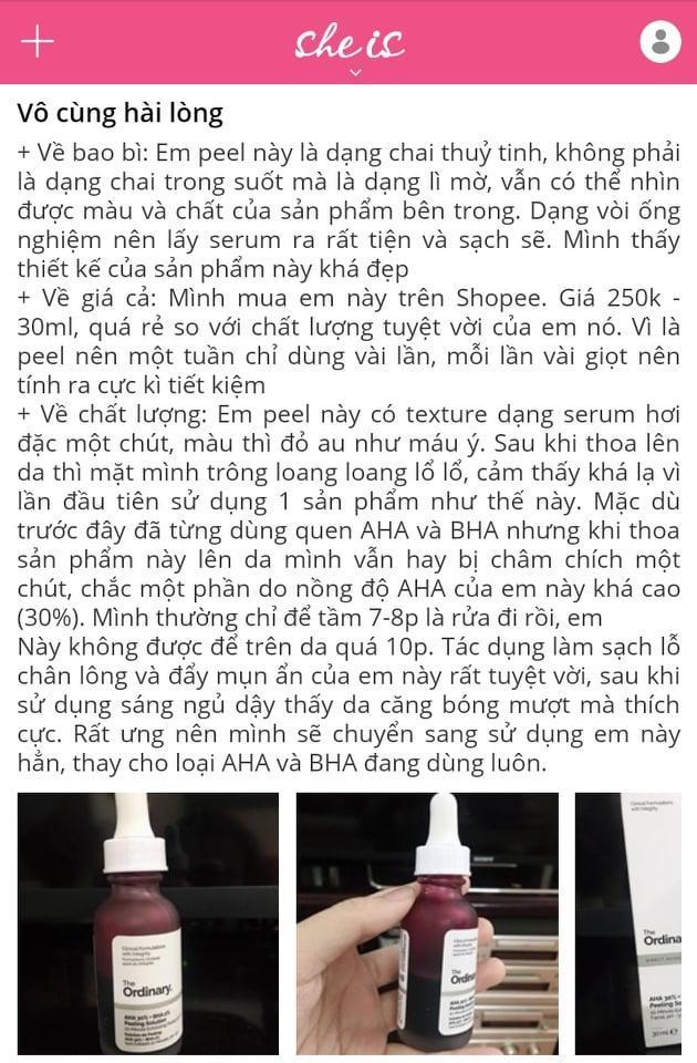 Tinh chất Giảm Vết Thâm, Da Sần Mụn, Lỗ Chân Lông The Ordinary AHA 30% + BHA 2% Peeling Solution